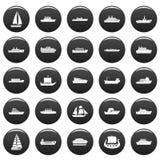 Boat icons set vetor black. Boat icons set. Simple illustration of 25 boat icons black isolated Royalty Free Stock Photography