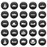 Boat icons set vetor black. Boat icons set. Simple illustration of 25 boat vector icons black isolated Royalty Free Stock Images