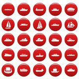 Boat icons set vetor red. Boat icons set. Simple illustration of 25 boat vector icons red isolated Stock Image