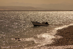 Boat. Idyllic scene with a small boat on the sea Royalty Free Stock Image