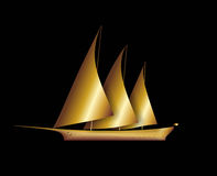 Boat. Illustration of a golden sailboat with three masts Stock Image