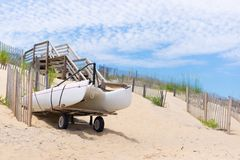 Boat Image  1. Catamaran boat in the sand Royalty Free Stock Photography