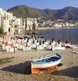 Boat In Cefalu Stock Photo