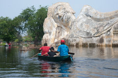 Free Boat In Mega Flood On Outdoot Ancient Lying Buddha. Stock Photo - 22721290