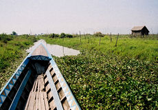 Boat on Inle Lake inlet Royalty Free Stock Photography