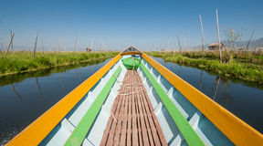 Boat on Inle lake. Boat ride around villages and fields on the Inle lake, Myanmar Stock Images