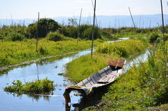 Boat at Inle lake Stock Photo