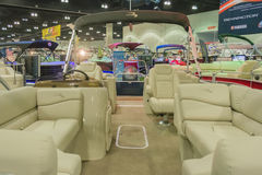Boat interior on display. Los Angeles, California, USA - February 19, 2015 - Boat interior on display at the Progressive Los Angeles Boat Show in L.A. Convention Royalty Free Stock Photography