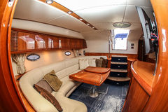 Boat interior with wide lens Royalty Free Stock Photos