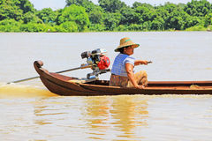 Boat On The Irrawaddy River, Mandalay, Myanmar Stock Images