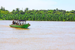 Boat On The Irrawaddy River, Mandalay, Myanmar Stock Photo