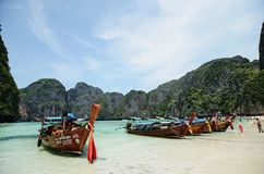 Boat island. Boats anchoring on the peaceful shore of thailand Royalty Free Stock Photos