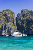Boat and island. Boat on the clear water in andaman sea Royalty Free Stock Photography