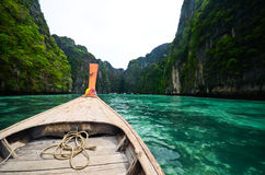 Boat and islands in andaman sea Thailand Royalty Free Stock Photo