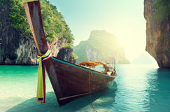 Boat and islands in andaman sea Royalty Free Stock Photo