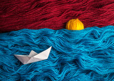 Boat, isolated, paper, background, idea, sea, yarn, abstract, cl Stock Photography