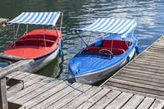Boat jetty. A boat jetty at the beautiful Hallstatter lake Royalty Free Stock Photos