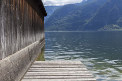 Boat jetty. A boat jetty at the beautiful Hallstatter lake Royalty Free Stock Image