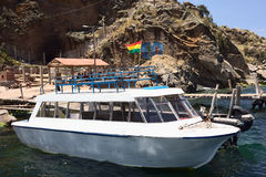 Boat at Jetty on Lake Titicaca Close to Copacabana, Bolivia Stock Image