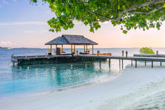 Boat jetty in the Maldives Stock Images