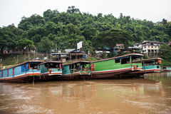 Boat Jetty On Mekong Stock Photo