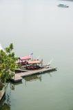 Boat and jetty at Putrajaya Lake Stock Photos