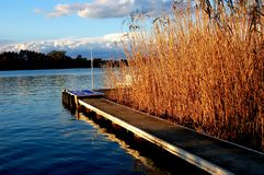 Boat Jetty on a River Royalty Free Stock Images