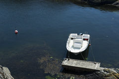 Boat at jetty by the sea. Boat in a lagoon sea in Swedish west coast archipelago Royalty Free Stock Photography