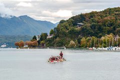 Boat of kayaking on lake Geneva in Annecy, France Royalty Free Stock Image