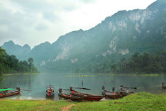 Boat at Khao Sok National Park, Surat Thani Province, Thailand. Royalty Free Stock Photo