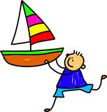 Boat Kid. Cute cartoon whimsical childlike drawing of a little boy holding a large toy boat vector illustration