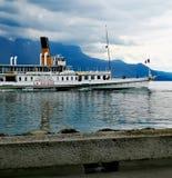 Boat ``La Suisse`` close to the shore of lake geneva in Vevey stock photo
