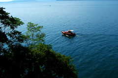 Boat at the Lago Maggiore. Digital photo of a boat at the Lago Maggiore - a lake in italy Royalty Free Stock Photos