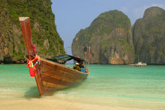 Boat in lagoon royalty free stock photo
