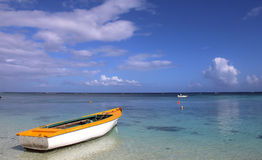 Boat on the lagoon in Mauritius island Royalty Free Stock Images
