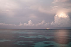 Boat on lagoon at morning Stock Image