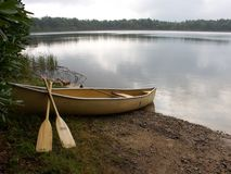 Boat & lake. Boat & oars on the shore of the Placid Lake, Albrightsville, Pennsylvania stock images
