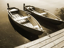 Boat on the lake (20), sepia Royalty Free Stock Photo