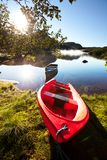 Boat on lake. Boat on small mountains lake in Norway Stock Images