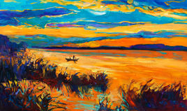 Boat in lake. Original oil painting showing beautiful lake with boat,sunset landscape.Fern(rush),sky and clouds. Modern Impressionism Royalty Free Stock Photography