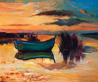 Boat and lake. Original abstract oil painting of f boat and lake on canvas.Rich Golden Sunset.Modern Impressionism Royalty Free Stock Photo