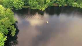 The boat in the lake. Boat in the lake, aerial photography, aerial photography stock video footage