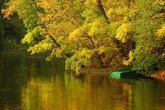 Boat on the lake in autumn Stock Photo