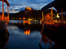 Boat on the lake Bled is the best place to be in t royalty free stock photos
