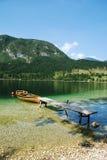 Boat at Lake Bohinj Shore Stock Photography