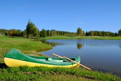 Boat by the lake Stock Image