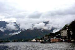 Boat in the Lake- Dal Lake, Kashmir royalty free stock photography