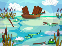 Boat on a lake drawn in cartoon style Royalty Free Stock Images