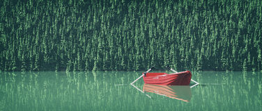 A boat on the lake. At the edge of a mountain. This is a 3d render illustration Stock Photos
