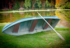 Boat By The Lake In The Fall Season Royalty Free Stock Image